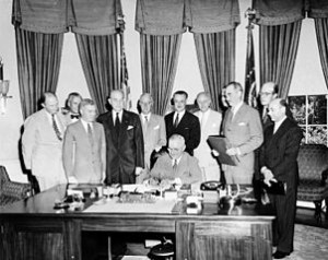Truman and Diplomats Signing NATO Treaty
