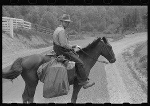 1940 Rural Postman Delivering Mail along Creeks and Roads near Jackson, Kentucky