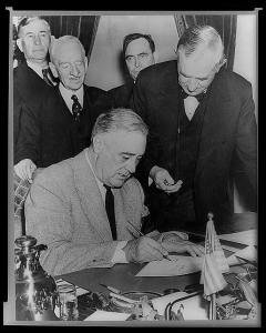 Roosevelt Signing Declaration of War