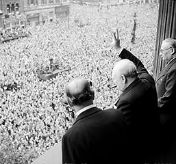 Winston Churchill Waving to the Ecstatic Crowd
