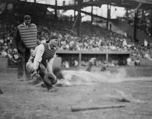 That's Lou Gehrig Sliding into Home Plate