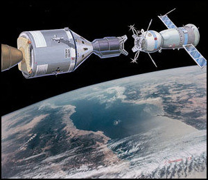 Artist's Rendition of Apollo 18 and Soyuz 19 Meeting