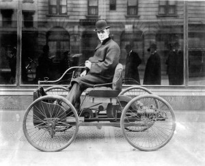Henry Ford on His Quadricycle