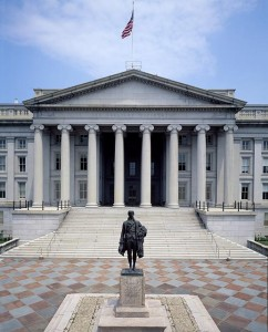 Treasury Building in Washington, D.C., with Statue of Alexander Hamilton in Front